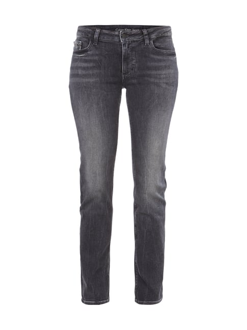 Straight Fit Stone Washed Jeans Grau / Schwarz - 1