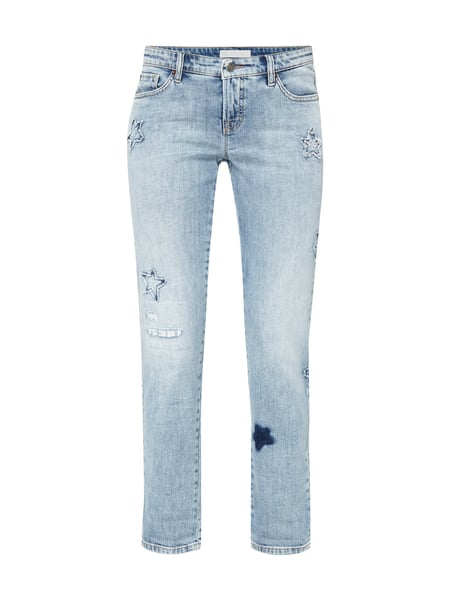 Cambio Laurie - Bleached Leisure Fit 5-Pocket-Jeans mit Aufnähern Jeans