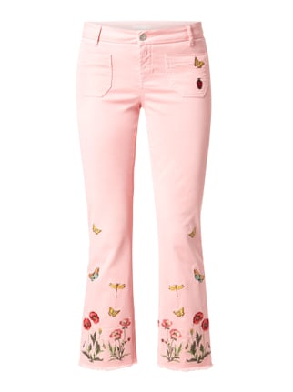 Coloured Flared Cut Jeans mit Stickereien Rosé - 1