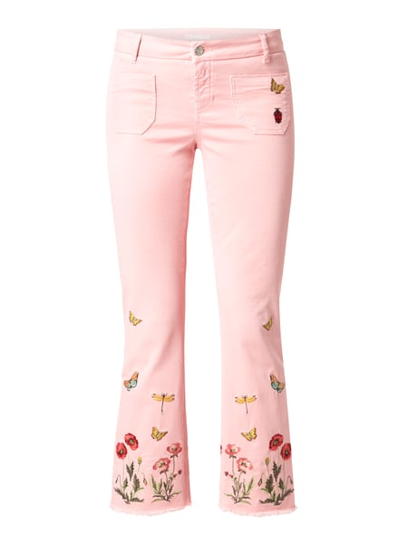 Cambio Coloured Flared Cut Jeans mit Stickereien Rosé - 1