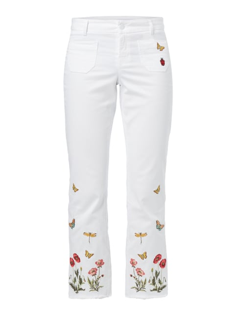 Coloured Flared Cut Jeans mit Stickereien Weiß - 1