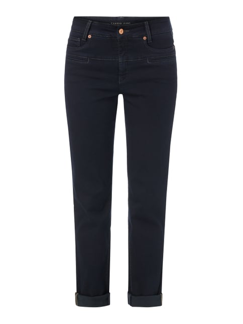 Coloured Slim Fit Jeans mit Zierpaspeln Blau / Türkis - 1