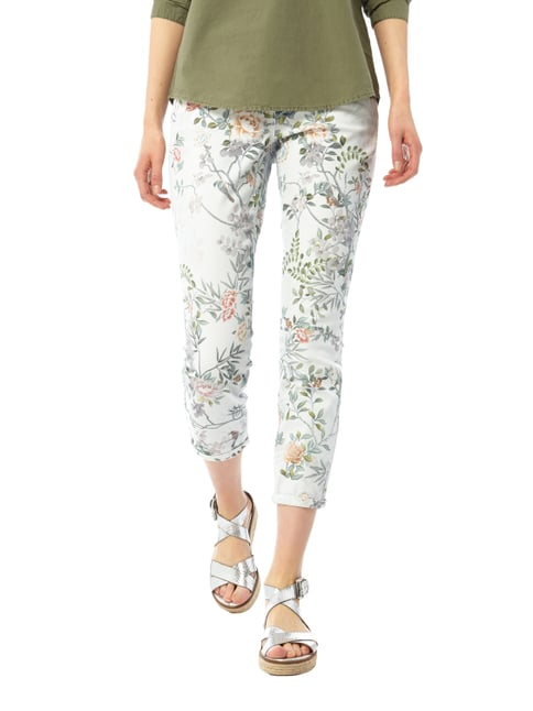 Cambio Cropped Jeans mit floralem Muster Hellblau - 1