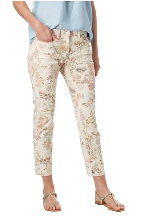Cambio Cropped Jeans mit floralem Muster Rosé - 1