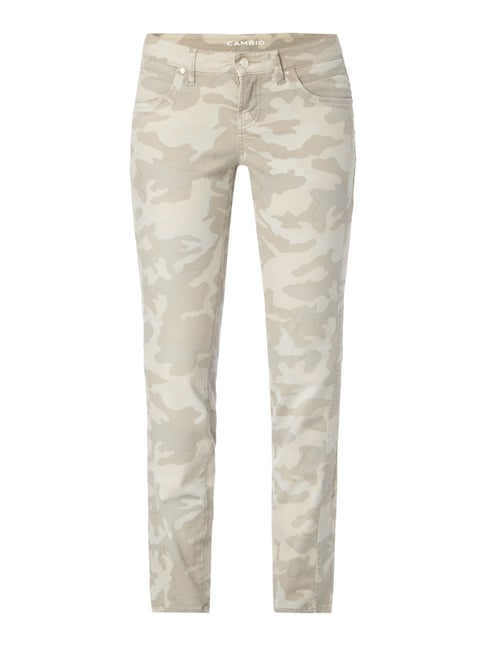 Skinny Fit Jeans mit Camouflage-Muster Weiß - 1