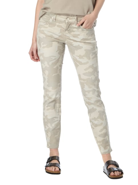Cambio Skinny Fit Jeans mit Camouflage-Muster Sand - 1
