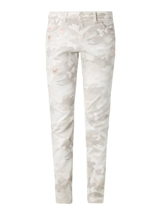 Slim Fit 5-Pocket-Jeans mit Camouflage Weiß - 1