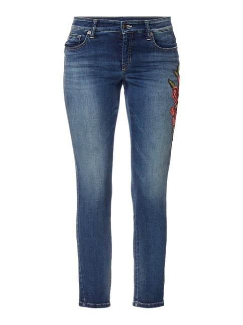 Slim Fit 5-Pocket-Jeans mit floralen Stickereien Blau / Türkis - 1