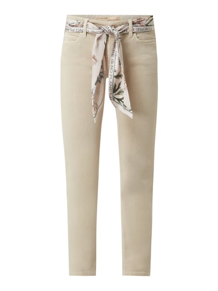 Cambio Slim Fit Cropped Jeans mit Stretch-Anteil Beige - 1