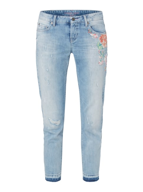 Slim Fit Jeans im Used Look mit Stickerei Blau / Türkis - 1