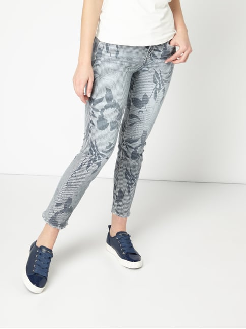 cambio slim fit jeans mit mustermix blau 1 - Jeans Mit Muster