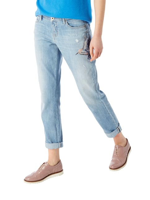 Cambio Stone Washed Leisure Fit 5-Pocket-Jeans Türkis - 1