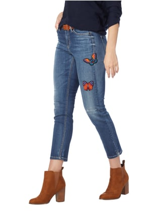 Cambio Stone Washed Skinny Fit Jeans mit Aufnähern Jeans - 1