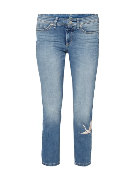 Cambio Parla Short - Stone Washed Slim Fit Jeans mit Stickereien Jeans