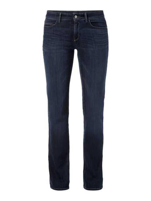 Stone Washed Straight Fit Jeans mit Zierketten Blau / Türkis - 1