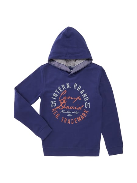 camp david hoodie mit gro em logo print in blau t rkis online kaufen 9521774 p c online shop. Black Bedroom Furniture Sets. Home Design Ideas