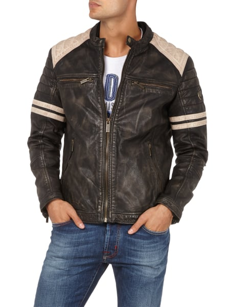 camp david lederjacke im biker look in grau schwarz online kaufen 9522545 p c online shop. Black Bedroom Furniture Sets. Home Design Ideas