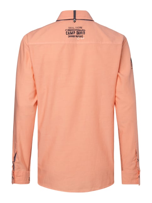 Camp David Regular Fit Freizeithemd mit Logo-Applikationen Neon Orange - 1