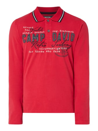 Camp David Rugby-Shirt mit Logo-Applikationen Rot - 1