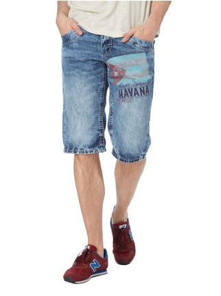 Camp David Stone Washed Jeansbermudas mit Print Jeans - 1