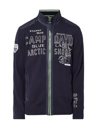 Camp David Strickjacke mit Logo-Details Blau / Türkis - 1