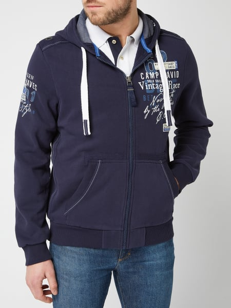 Camp David – Sweatjacke mit Kapuze – Marineblau | Graphic