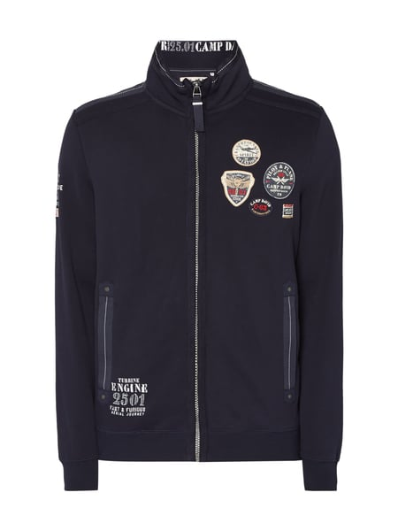Camp David Sweatjacke mit Logo-Details Marineblau