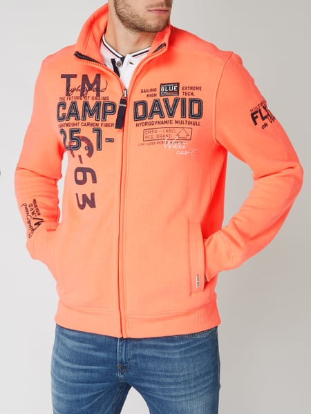 various colors get new new styles Camp David – Sweatjacke mit Logo-Details – Neon Orange