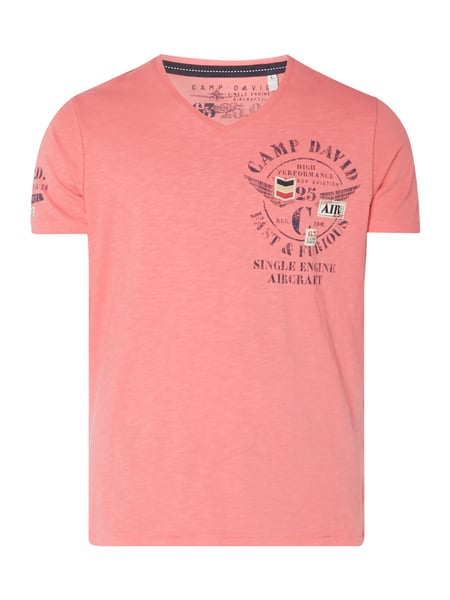 Camp David T-Shirt mit Logo-Details Rosé