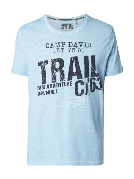 Camp David T-Shirt mit Logo-Print Himmelblau