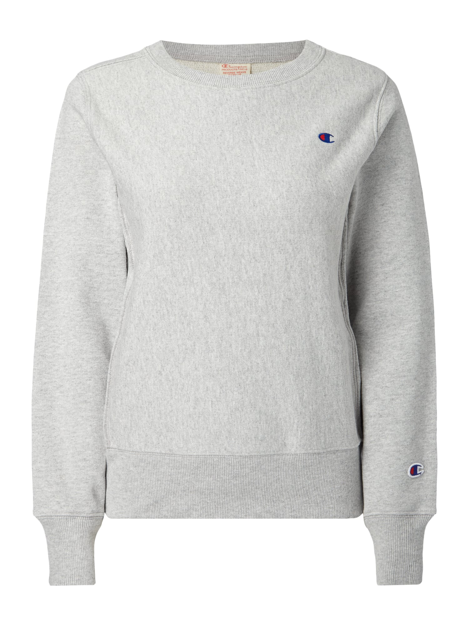 CHAMPION Sweatshirt mit Logo-Stickerei in Grau / Schwarz ...