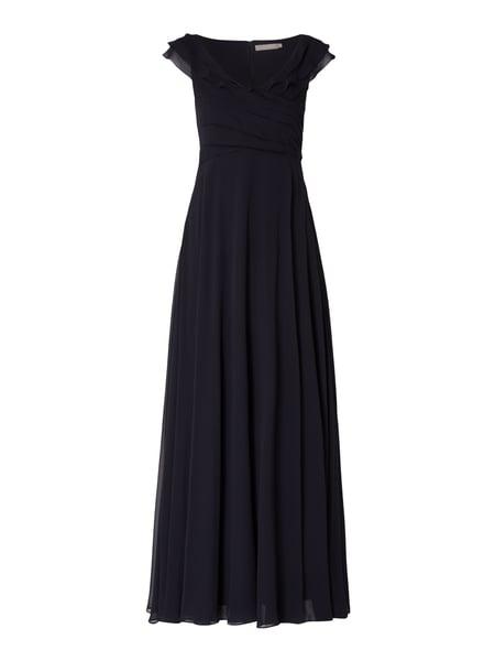 Christian Berg Cocktail Abendkleid aus Chiffon mit Volants Blau - 1
