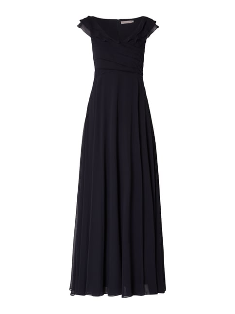 274d5c4918d293 Christian Berg Cocktail Abendkleid aus Chiffon mit Volants Blau - 1 ...