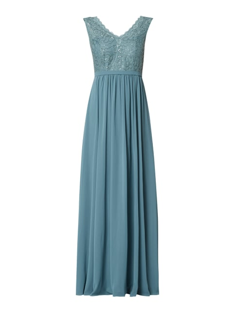 8039e062da1132 Christian Berg Cocktail Abendkleid mit Pailletten-Applikationen Grün - 1 ...