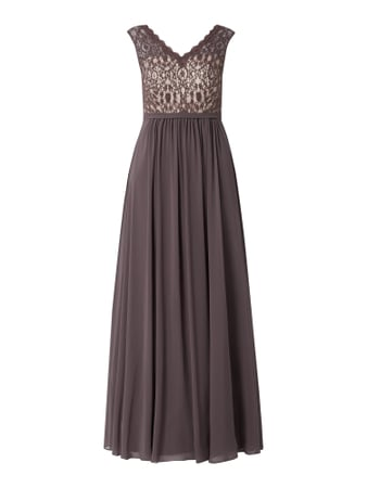 Christian Berg Cocktail Abendkleid mit Pailletten-Applikationen Beige - 1