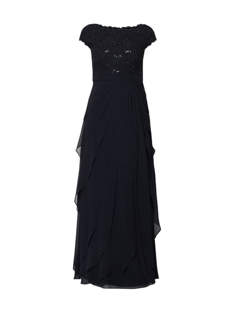 77a0c5b20210 Christian Berg Cocktail Abendkleid mit Rockteil im Double-Layer-Look Blau    Türkis ...