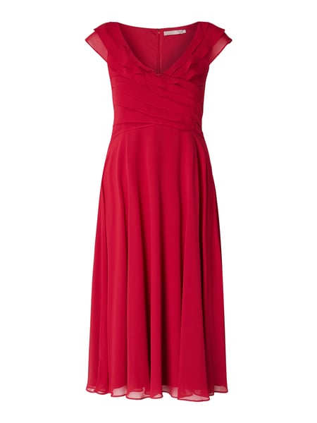 Christian Berg Cocktail Cocktailkleid aus Chiffon mit Volants Rot - 1