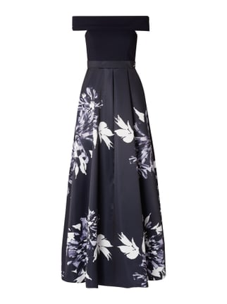 a29aa5e4006569 Christian Berg Cocktail Off Shoulder Abendkleid mit floralem Muster Blau    Türkis - 1 ...