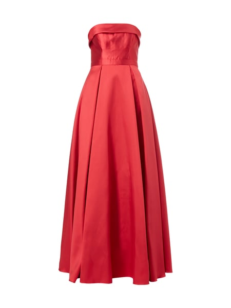 Christian Berg Cocktail Off Shoulder Abendkleid mit Kellerfalten Rot