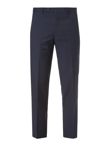 Christian Berg Men Business-Hose mit Webmuster Blau