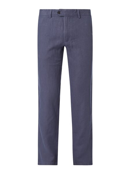 Christian Berg Men Leinenhose in gerader Passform Blau - 1