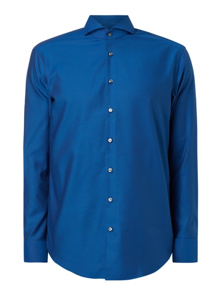 Christian Berg Men Modern Fit Business-Hemd mit Webmuster Marineblau