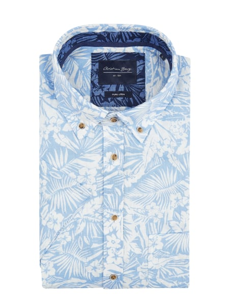 Christian Berg Men Modern Fit Leinenhemd mit Allover-Muster Blau - 1