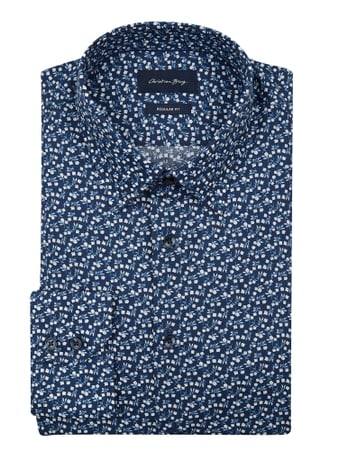 Christian Berg Men Regular Fit Business-Hemd aus Baumwolle Blau - 1