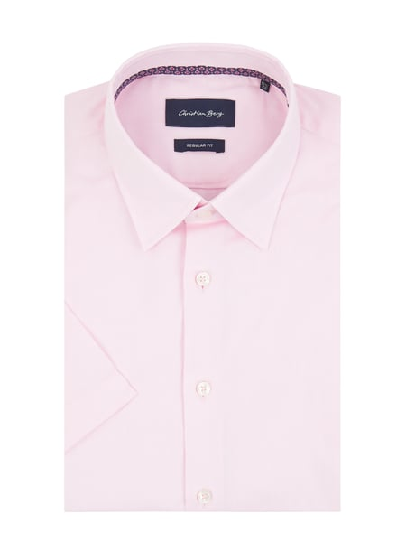 Christian Berg Men Regular Fit Business-Hemd aus Oxford mit kurzem Arm Rosa - 1