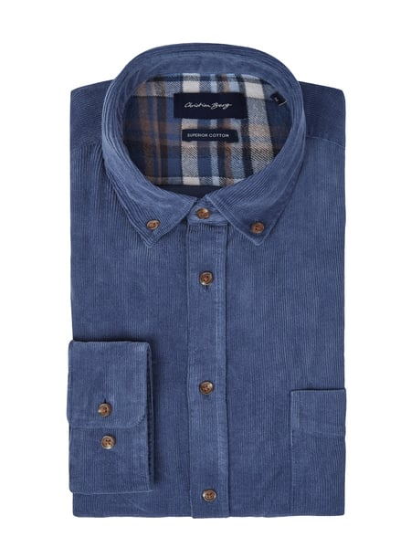 Christian Berg Men Regular Fit Cordhemd aus Baumwolle Blau - 1