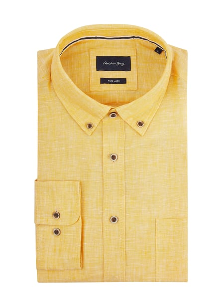 Christian Berg Men Modern Fit Freizeithemd mit Button-Down-Kragen Gelb - 1