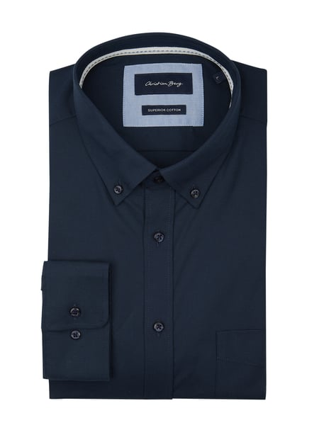 Christian Berg Men Regular Fit Freizeithemd aus Oxford Blau - 1