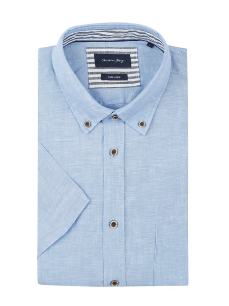 Christian Berg Men Modern Fit Leinenhemd mit Button-Down-Kragen Blau / Türkis - 1