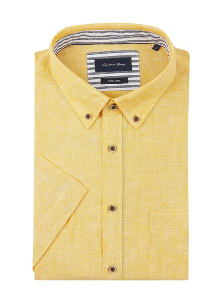 Christian Berg Men Modern Fit Leinenhemd mit Button-Down-Kragen Gelb - 1
